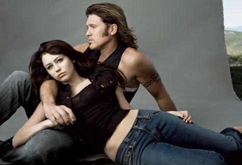 Image result for miley cyrus and her dad from vogue creepy pic