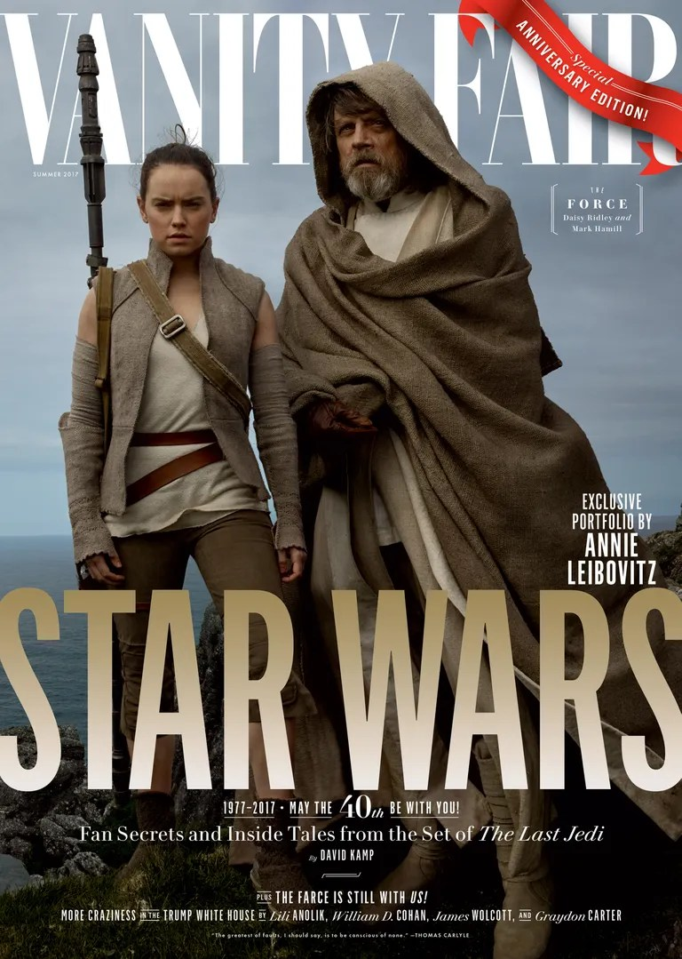 Daisy Ridley as Resistance warrior Rey and Mark Hamill as mentor Luke Skywalker, on location in Ireland.