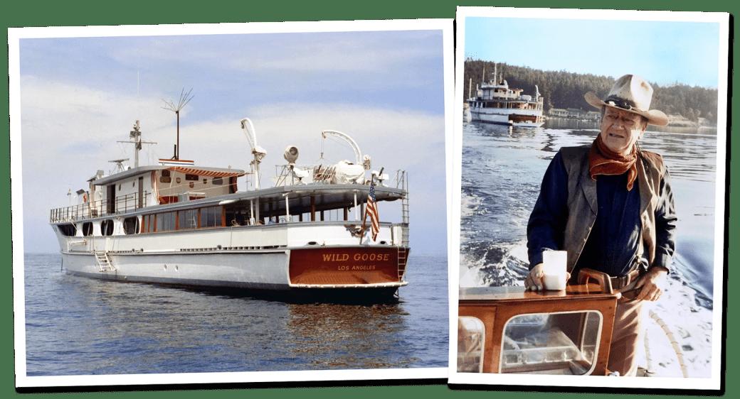pJohn Wayne and his boat the Wild Goose.p