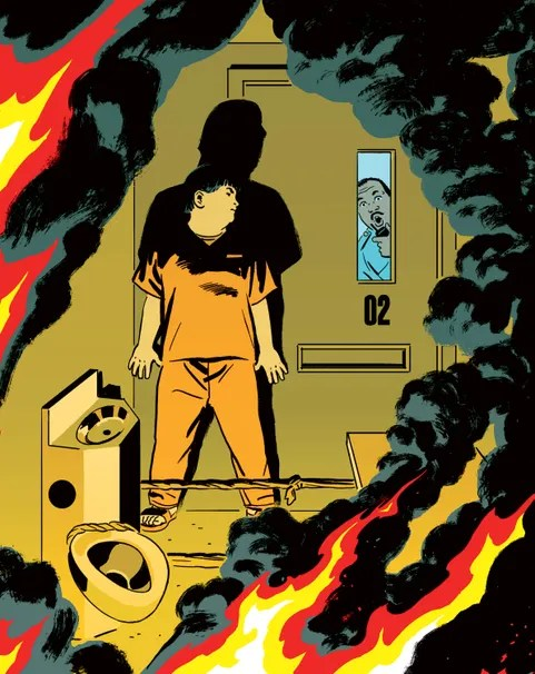 man in flaming jail cell