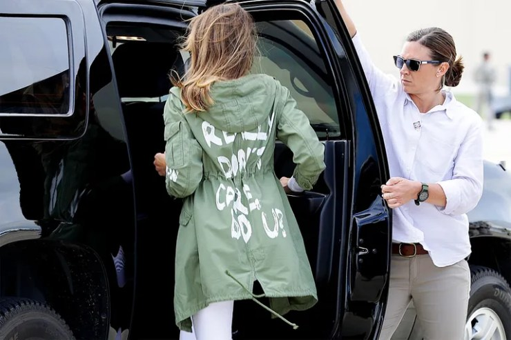 "Melania Trump wears a jacket that says ""I really don't care, do you?"""