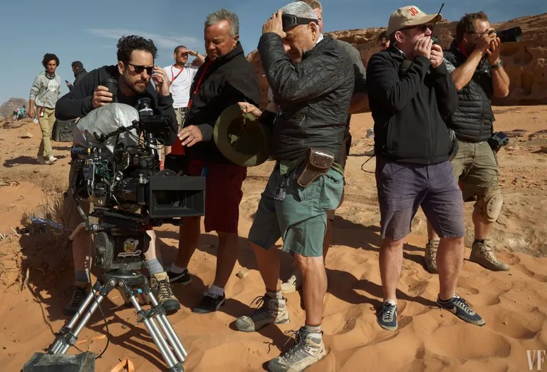 Director and co-writer J. J. Abrams and crew in Jordan.