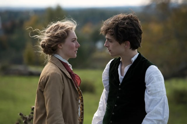 """Saoirse Ronan as Jo March, a heroine that has inspired Ursula Le Guin, Simone de Beauvoir, and Hillary Clinton, and Timothée Chalamet as Laurie, her best friend and closest confidant. """"Jo is a girl with a boy's name, Laurie is a boy with a girl's name,"""" writer-director Greta Gerwig said. """"In some ways they are each other's twins."""""""