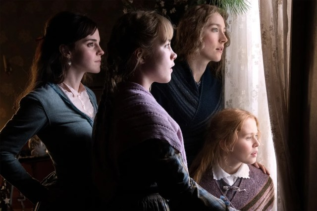 From left to right: Emma Watson as Meg, Florence Pugh as Amy, Saoirse Ronan as Jo, and Eliza Scanlen as Beth.