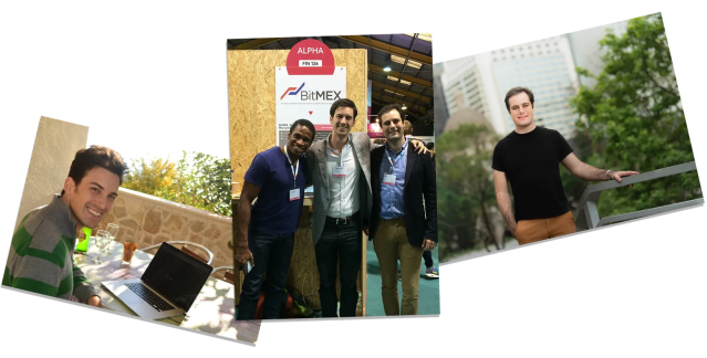 Left Sam Reed in Croatia 2014 on the day of BitMEXs launch center Arthur Hayes Sam Reed  Ben Delo  in Dublin 2014 right...