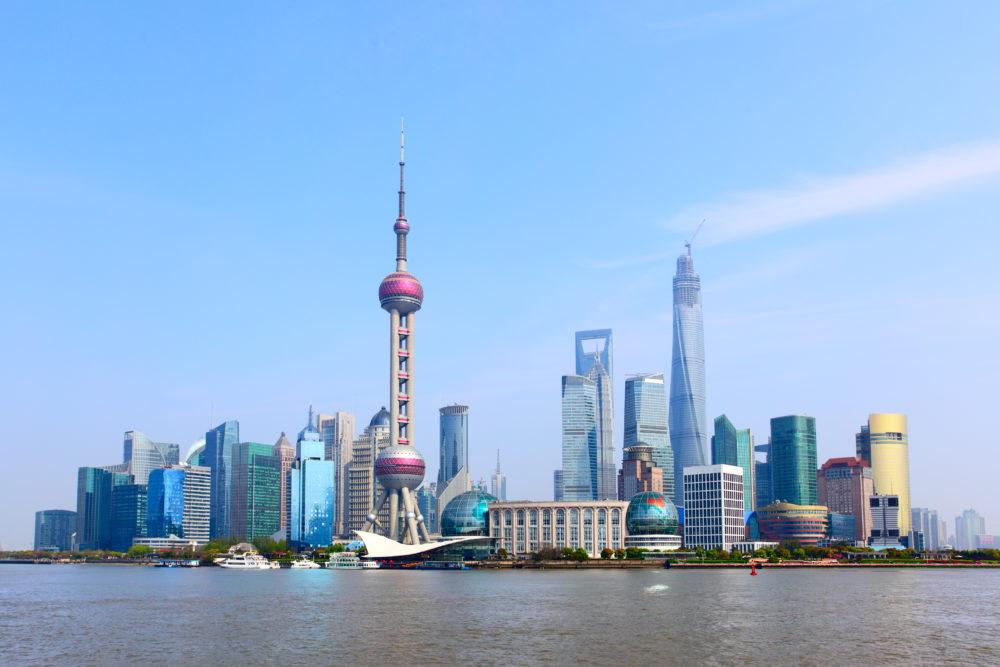 stadssiluetten i Shanghai, storstäder i Kina