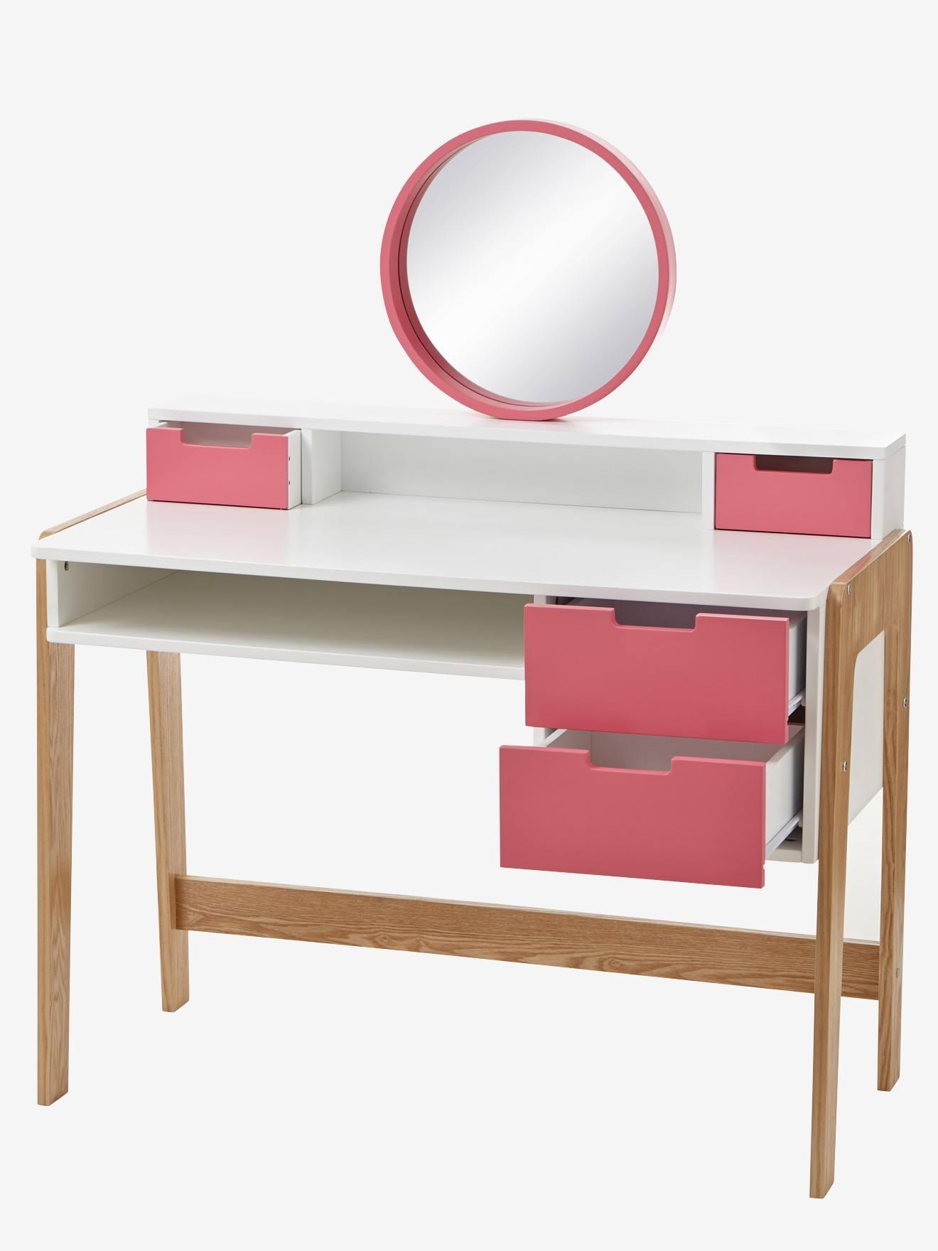 bureau coiffeuse 6 10 ans blanc rose bois