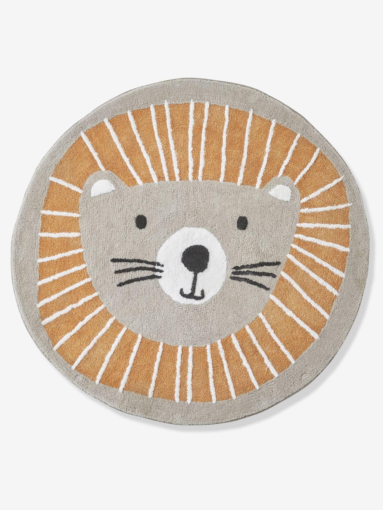 tapis rond lavable lion gris orange