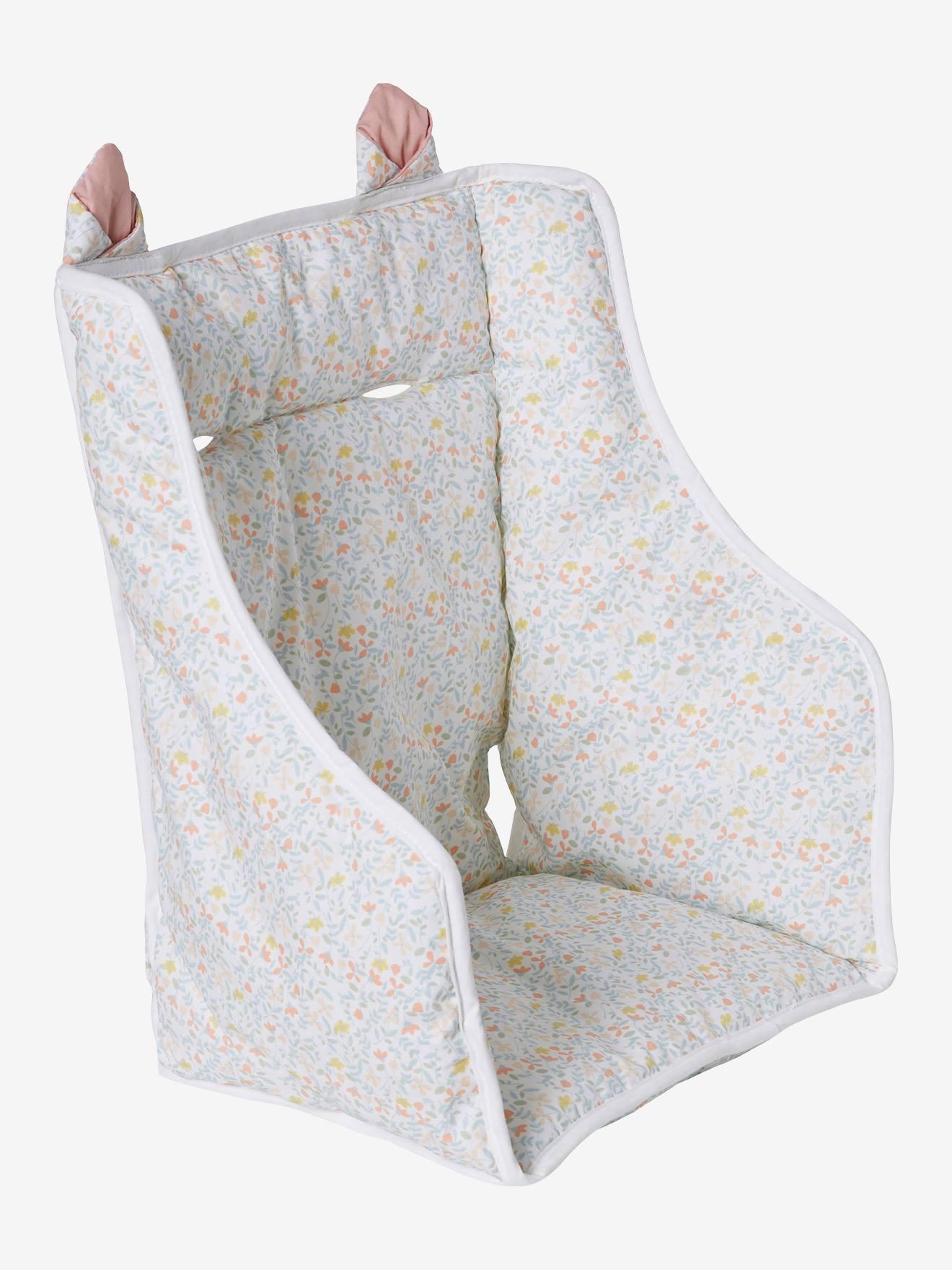 coussin de chaise haute vertbaudet imprime fleurs