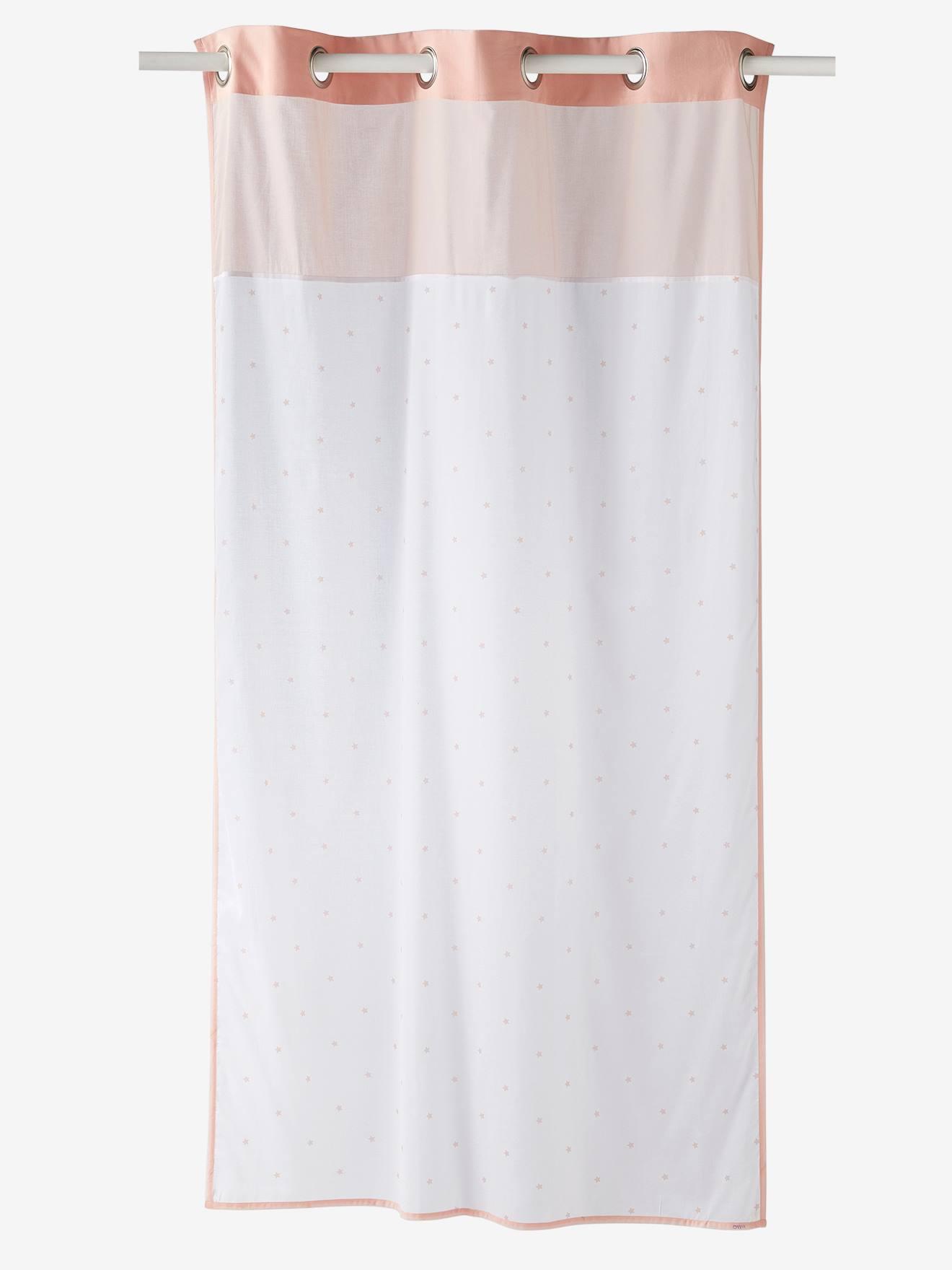 rideau voilage etoiles blanc rose