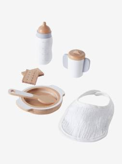 Set accessoires repas poupon en bois blanc 1 - vertbaudet enfant
