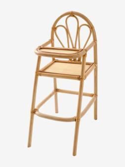 Chaise haute poupon en rotin beige 1 - vertbaudet enfant