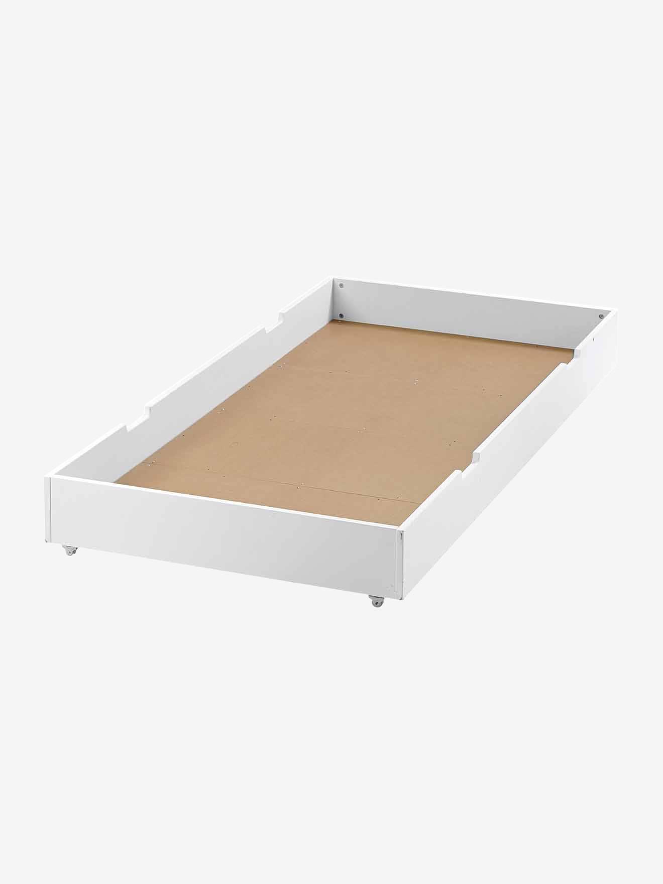 tiroir de lit a roulettes pour lit enfant blanc