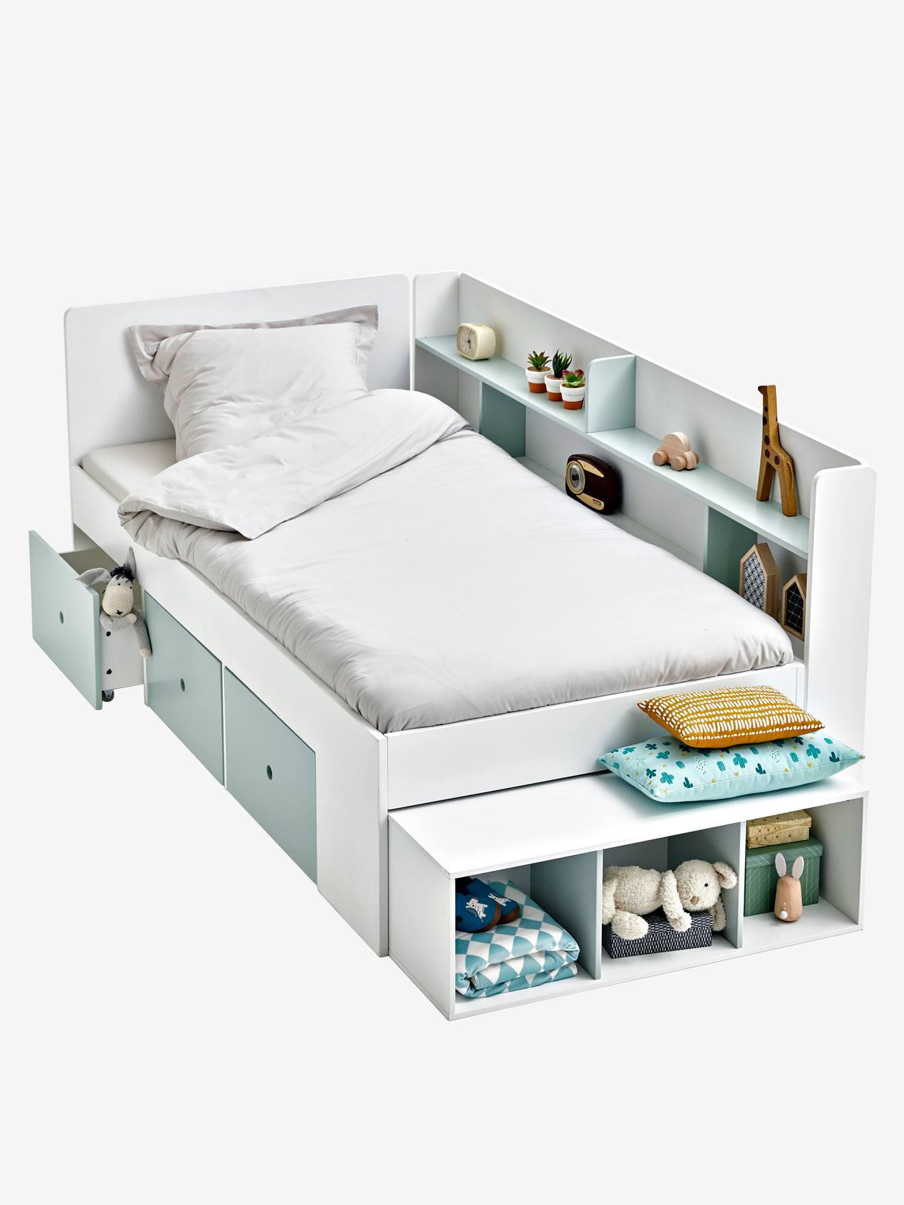 lit plateforme enfant avec rangements baseo blanc gris clair