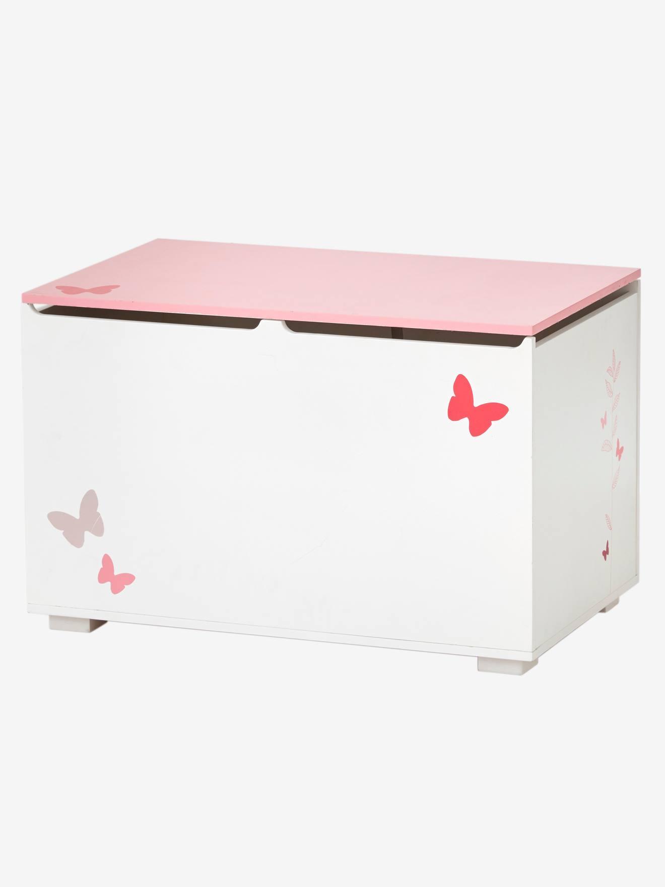 coffre a jouets ligne envolee blanc rose