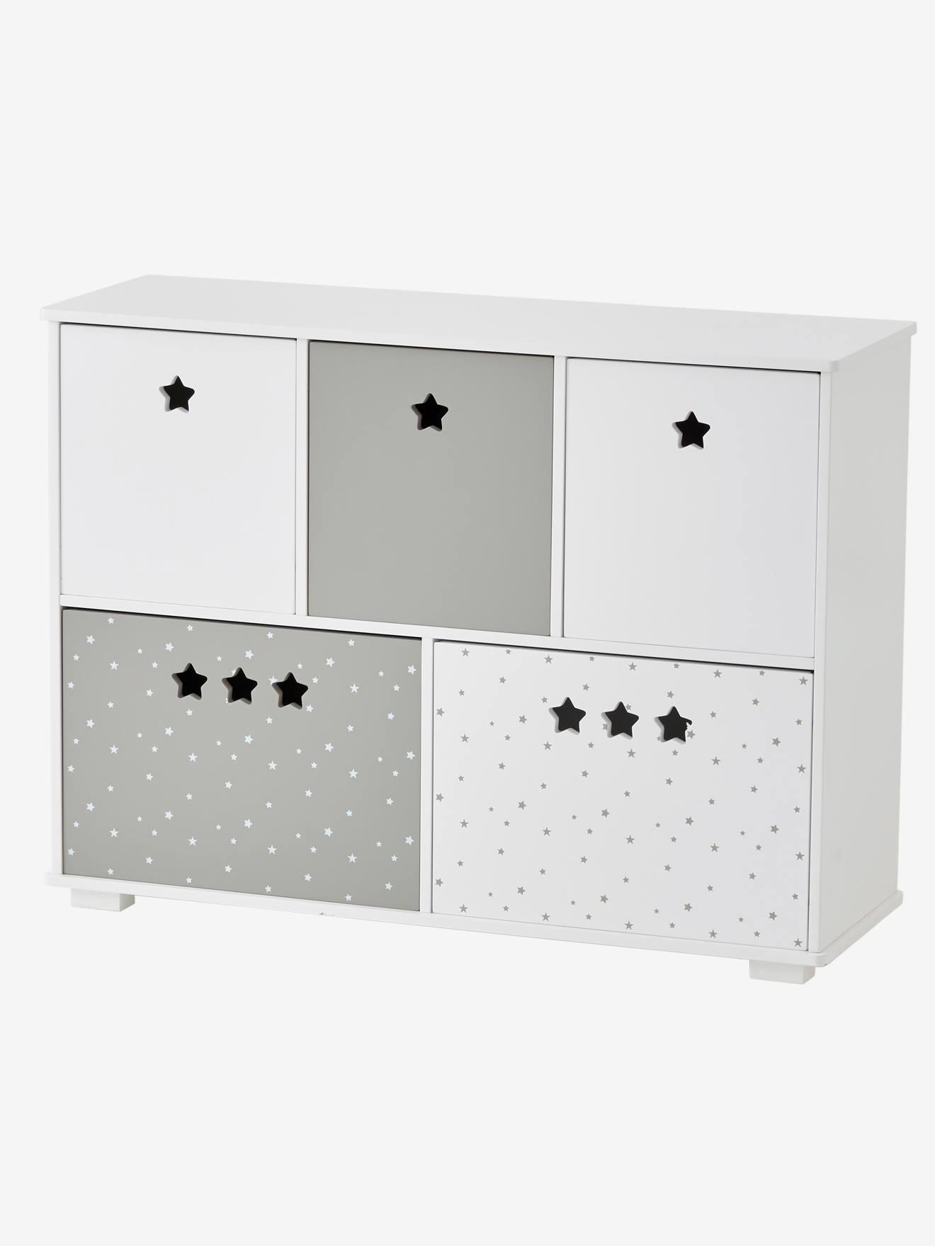 meuble de rangement 5 bacs ligne sirius blanc gris