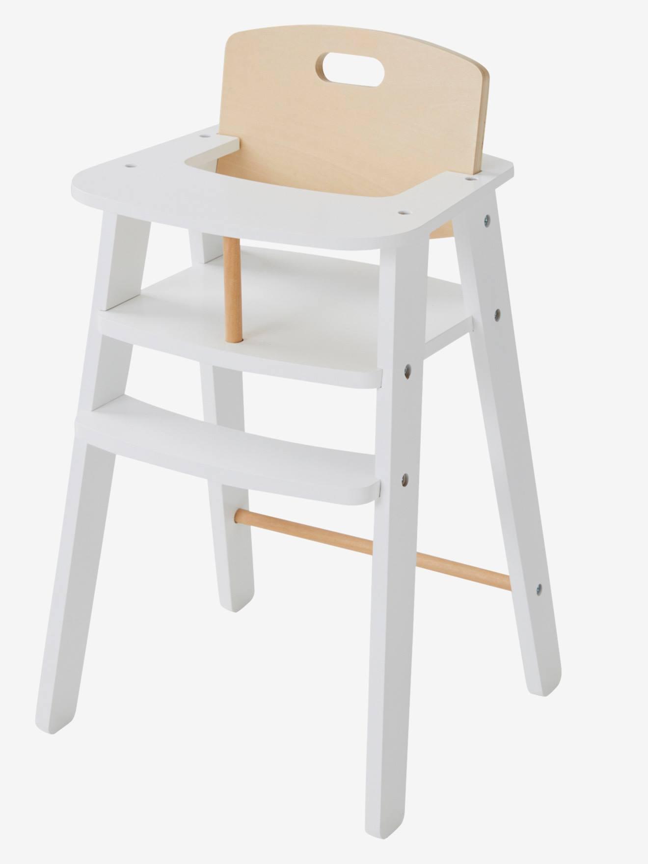 chaise haute poupon en bois rose