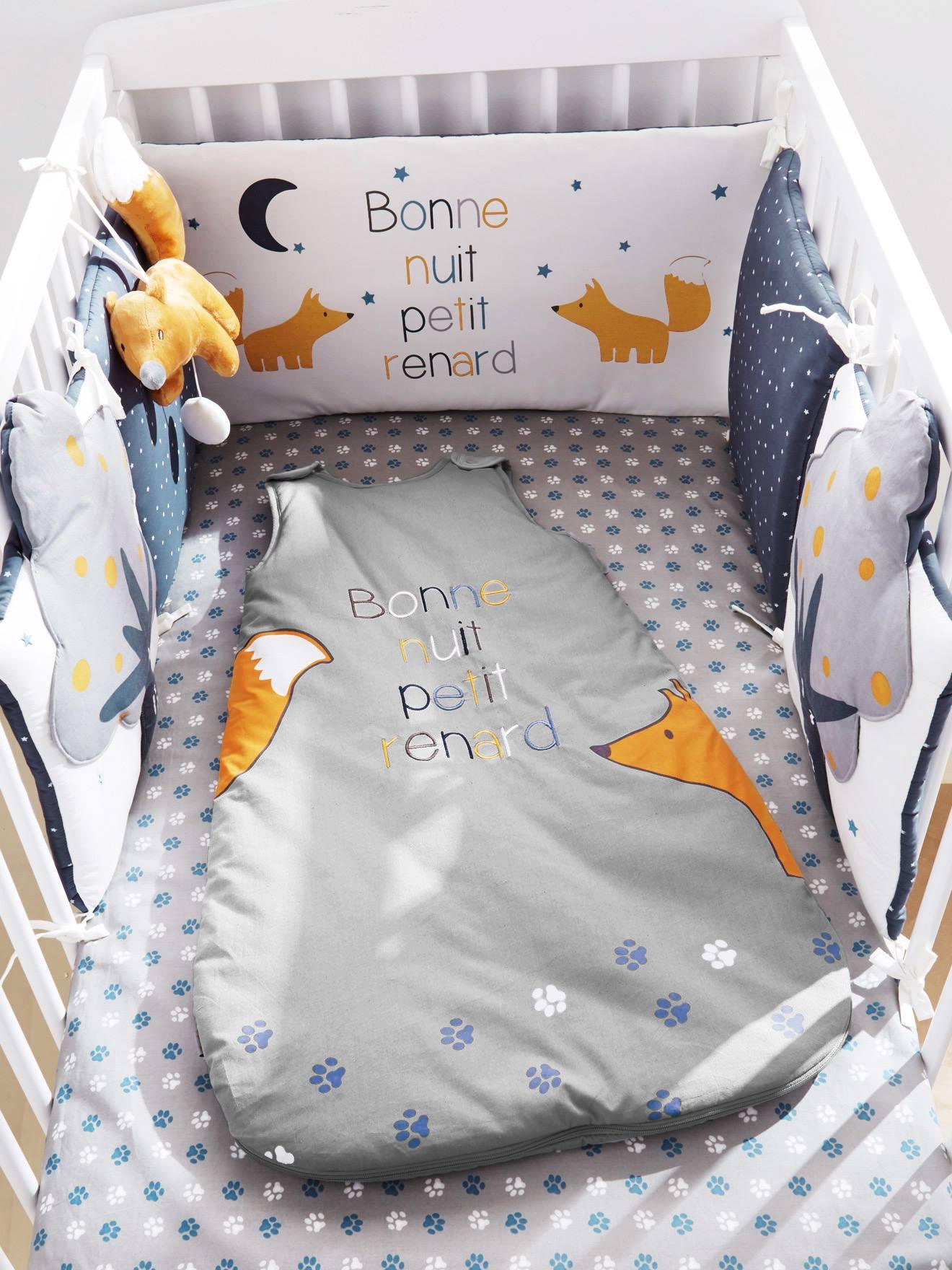 Tour de lit bb Petit Renard bleu nuit  Vertbaudet