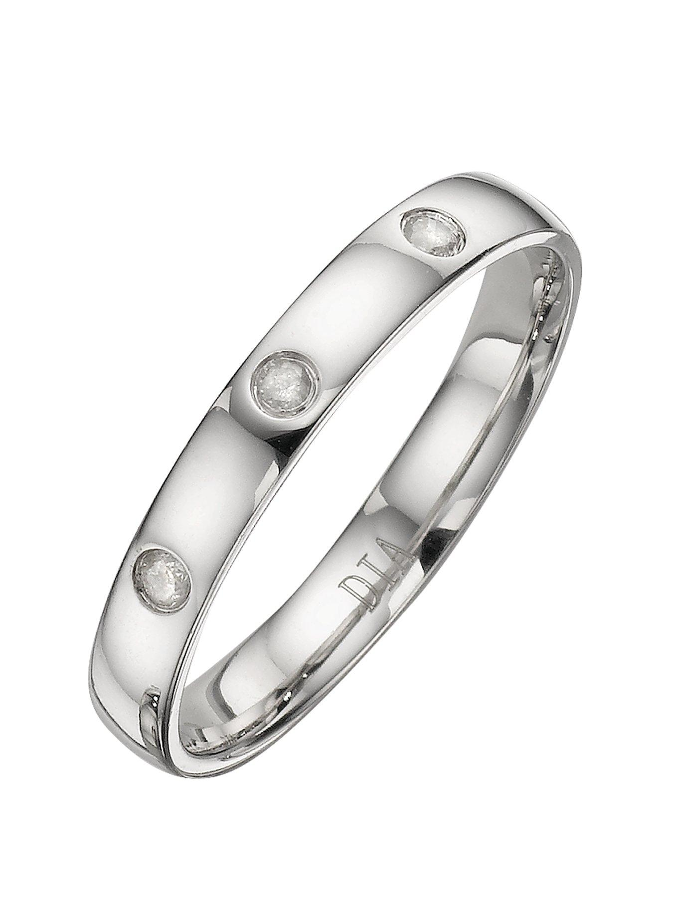 love gold 9 carat white gold 3mm ladies wedding band with diamond detail very co uk
