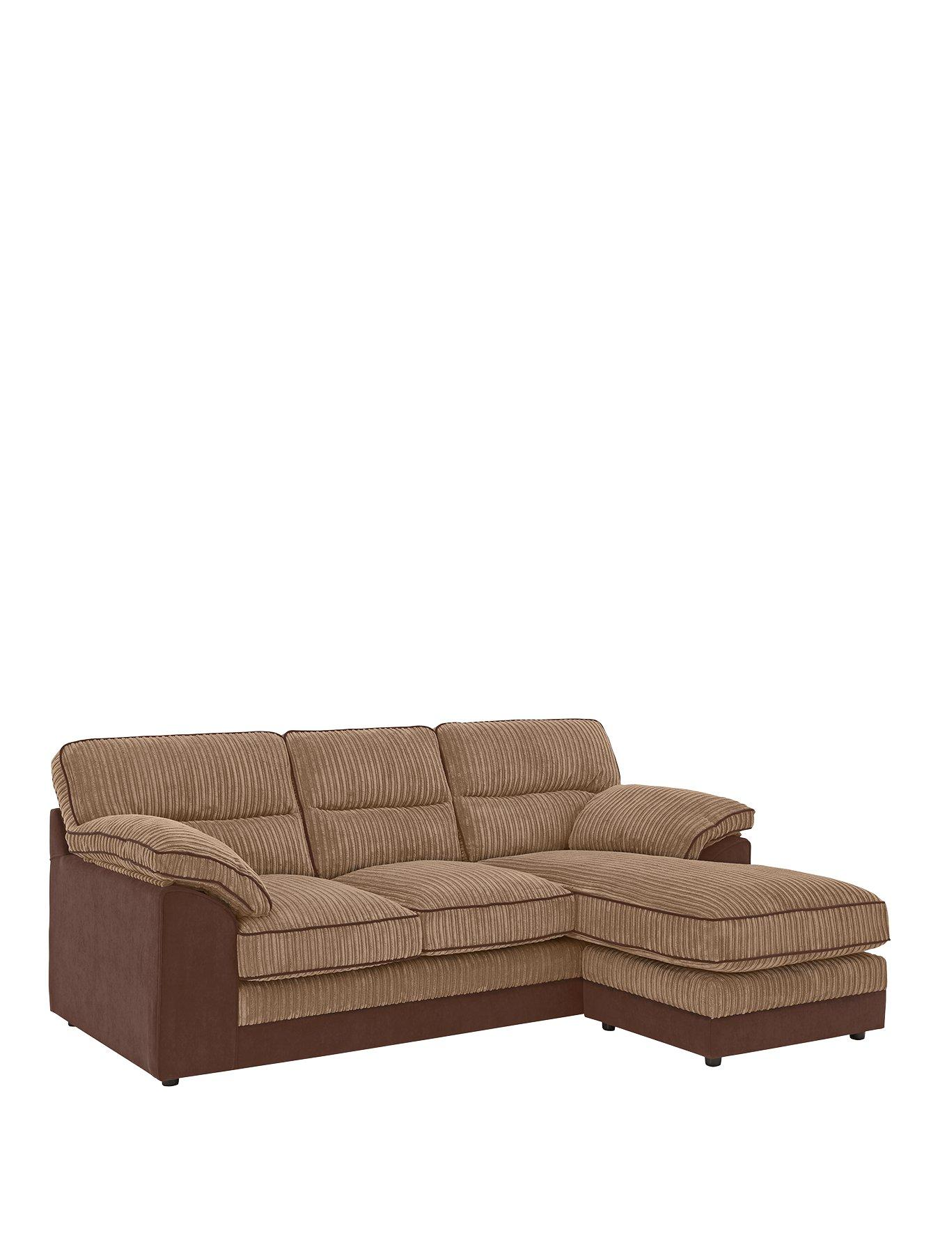 brown fabric sofa small modern bed sofas home garden www very co uk delta 3 seater right hand corner chaise