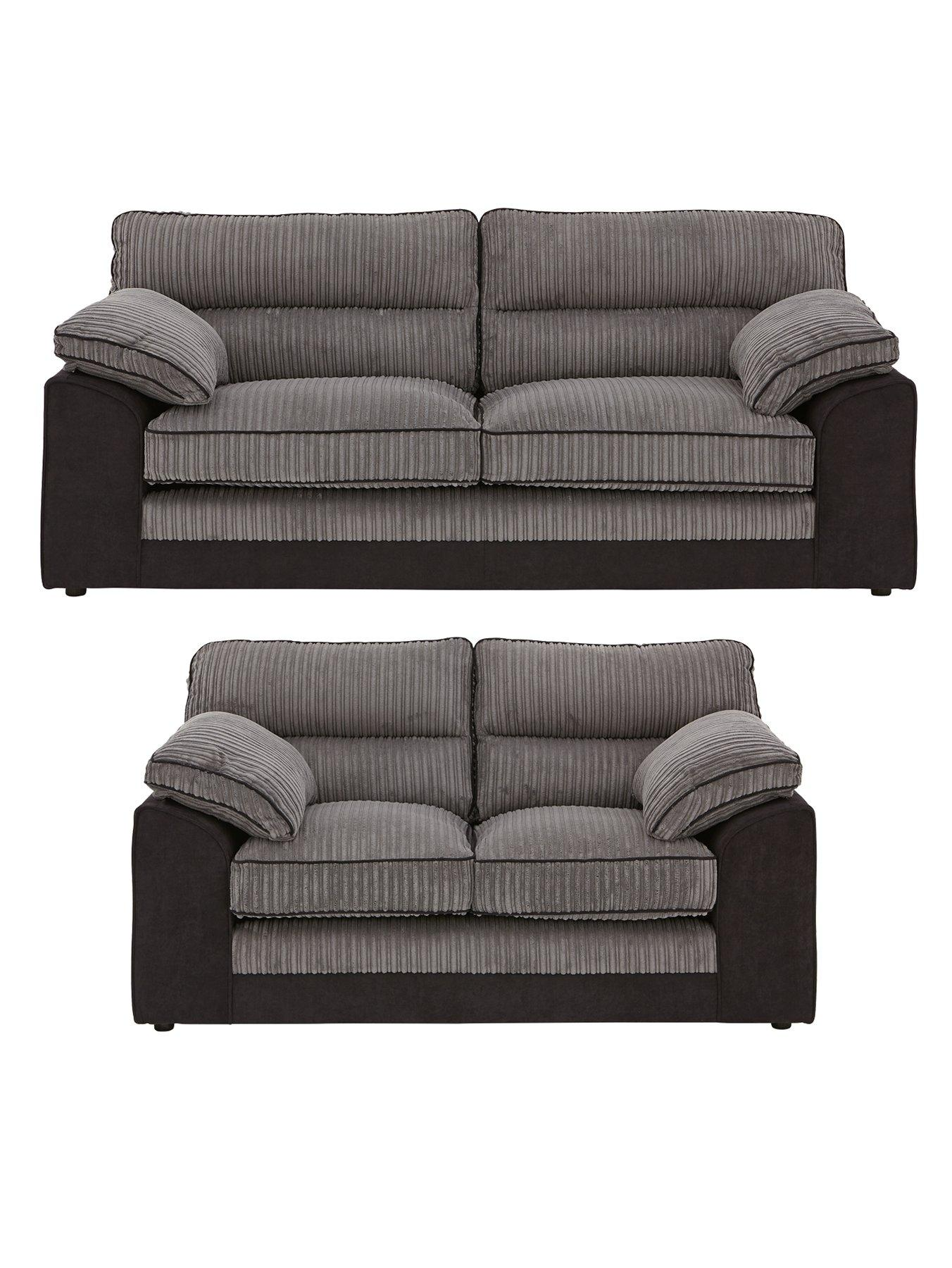 3 seater fabric sofa puff with bed inside delta 2 set buy and save very co uk