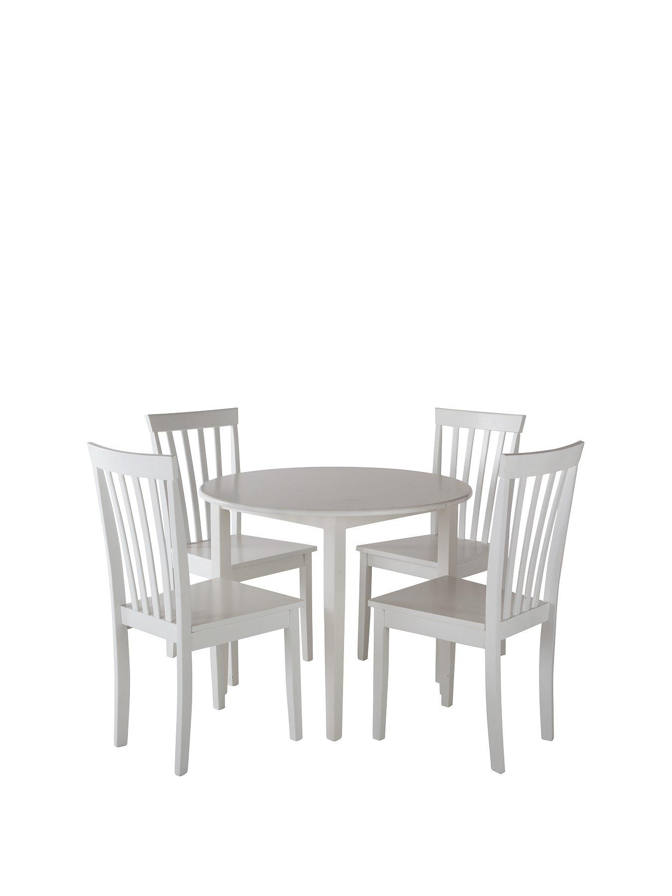 dining table and chair set uk small patio chairs sets very co sophia 90 cm round 4 white