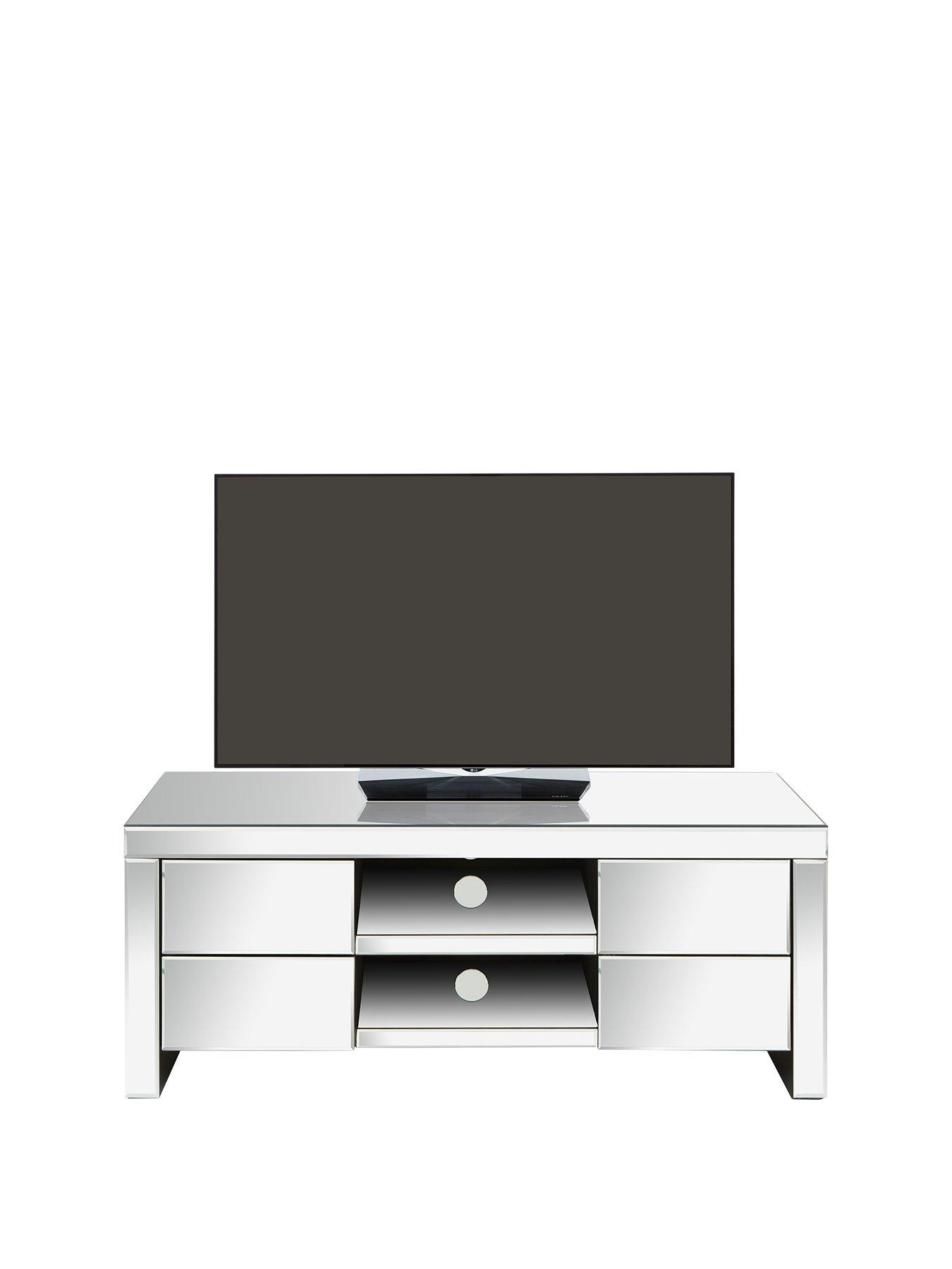 living room tv units upholstered swivel chairs stands home garden www very co uk monte carlo ready assembled mirrored unit fits up to 50 inch