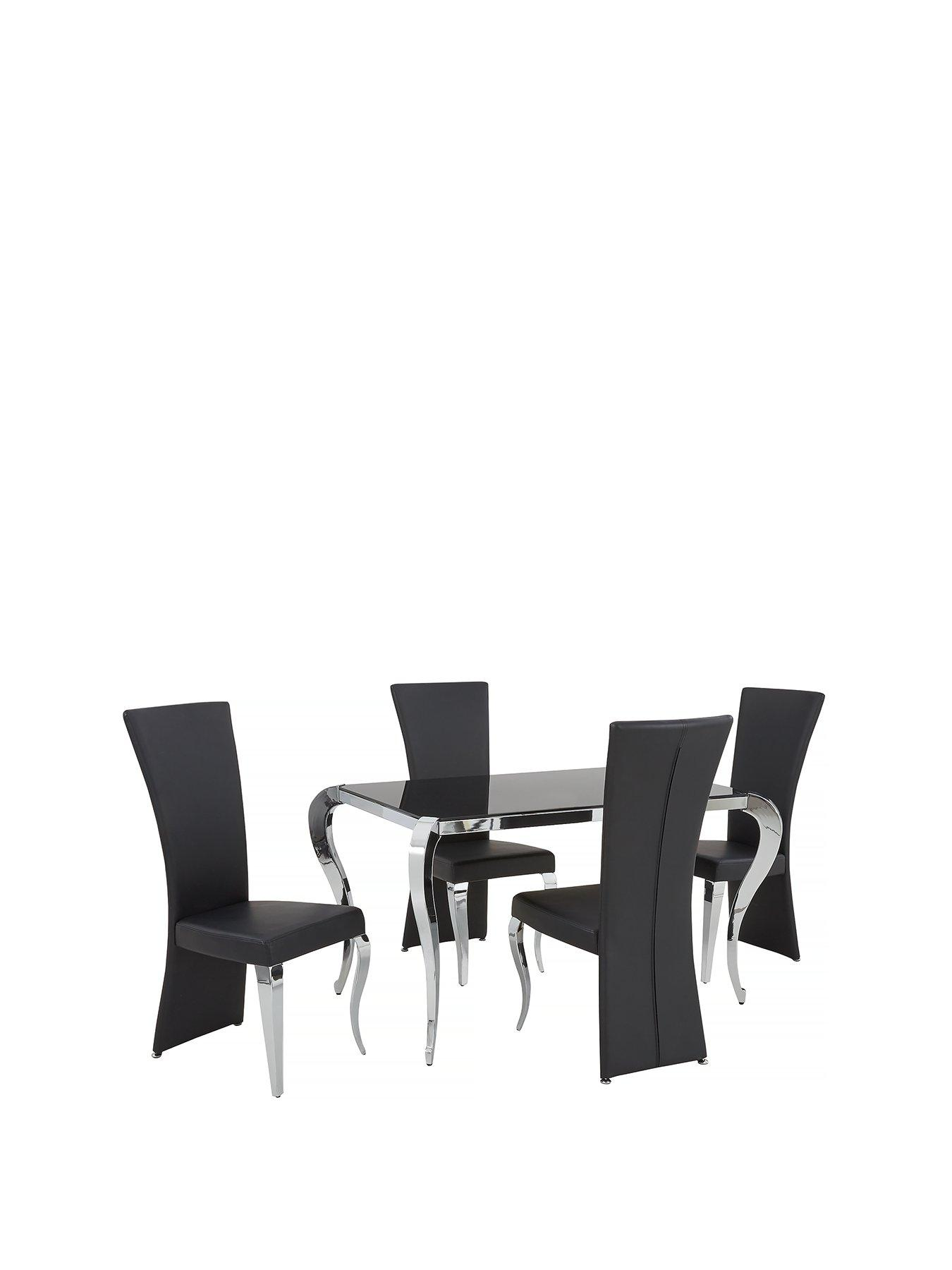 black table and chairs most expensive chair gaming dining sets tables 6 very co uk boutique 139 cm glass 4