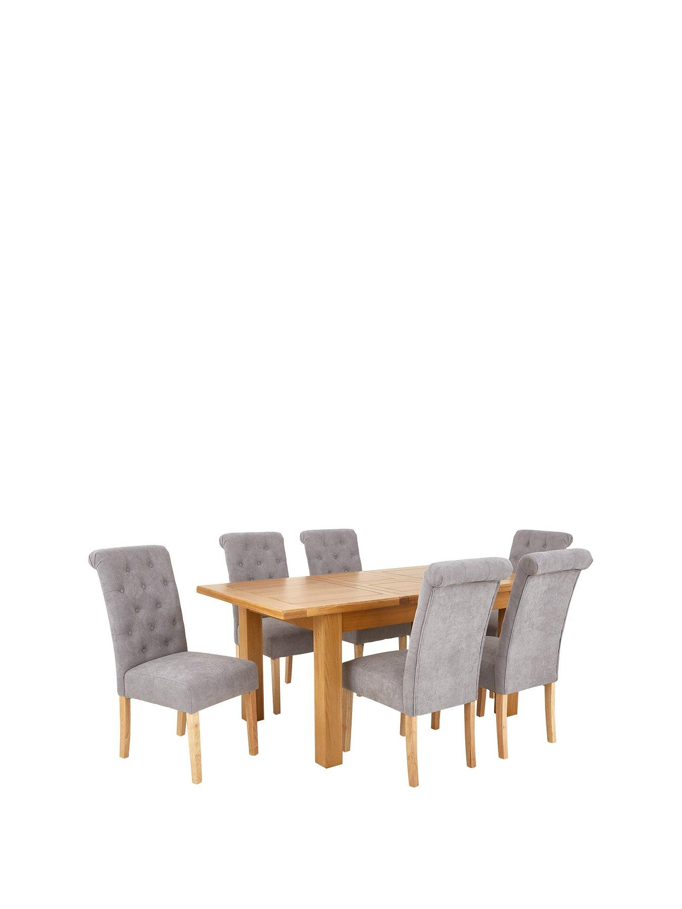 lidl fishing chair navy blue metal dining chairs table sets tables 6 very co uk oakland 140 180 cm solid wood extending fabric scroll back