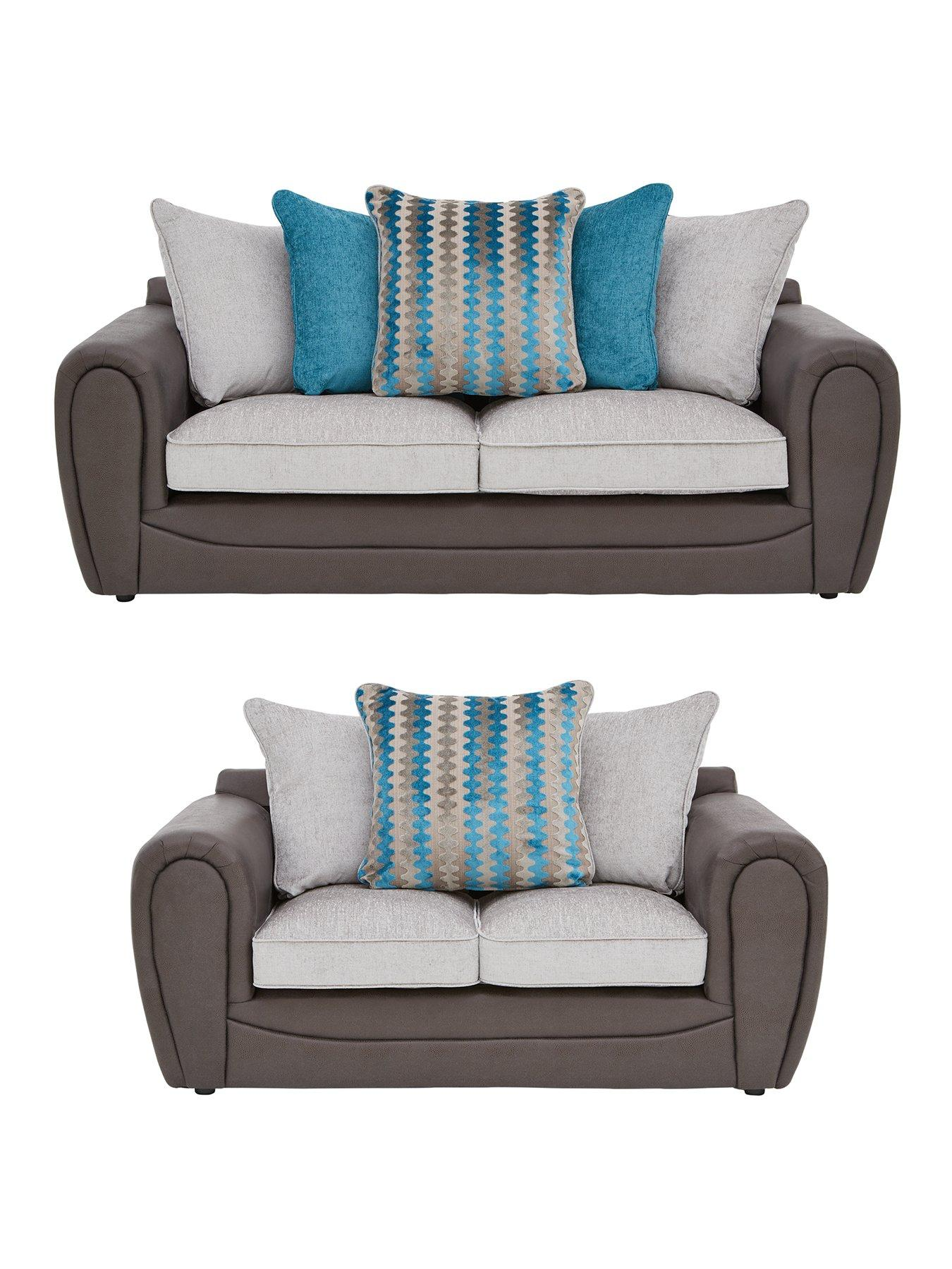 cheap teal sofas 2 seater recliner sofa cup holders very co uk calluna faux snakeskin and fabric 3 scatter back set buy save
