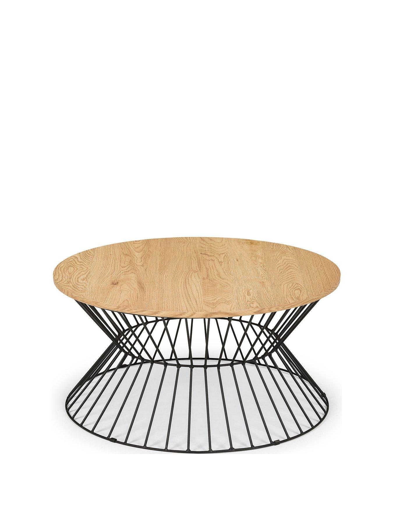 jersey round wire coffee table oak effect black metal