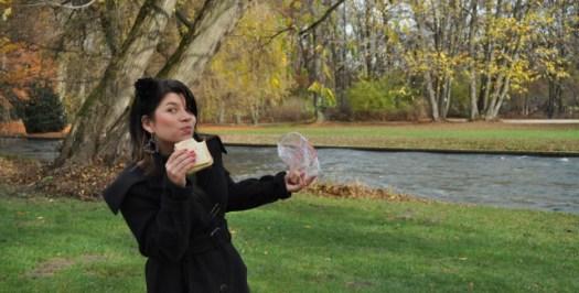 Um sanduíche e um passeio no Parque de Munique