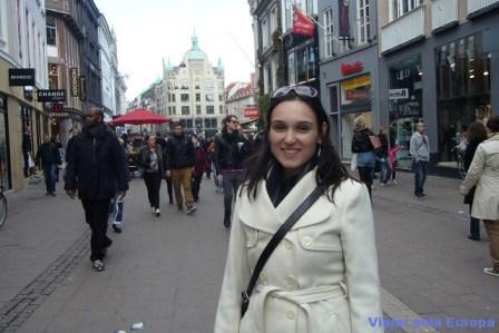 Strøget, uma das mais longas ruas de pedestres da Europa.