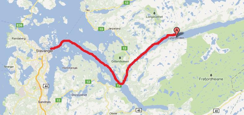 Mapa Do Trajeto Para Preikestolen Norway Viajar Pela Europa