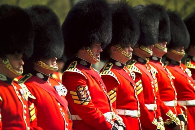 Regiment of the Scots Guards during The Changing of the Guard ceremony at Buckingham Palace