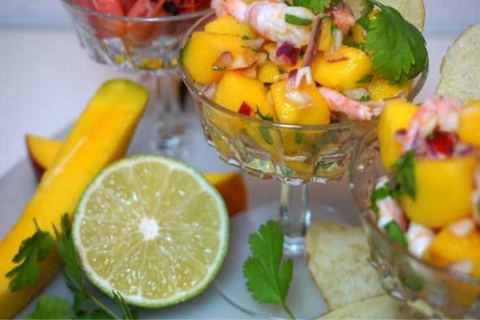Räksallad med mango, lime och koriander