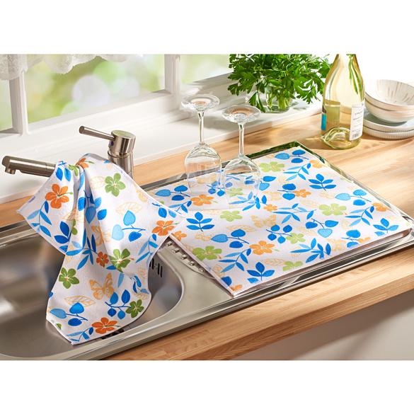 tapis egouttoir fleurettes 1 torchon vaisselle en plus