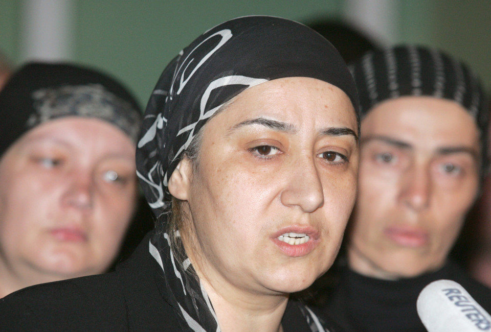 Susanna Dudiyeva, head of the Beslan Mothers' Committee, answers questions during a news conference in Beslan September 2, 2005. Russian President Vladimir Putin on Friday faced angry mothers who lost children in the Beslan school siege and sought to assure them that a probe into the bloodbath would not gloss over official incompetence.