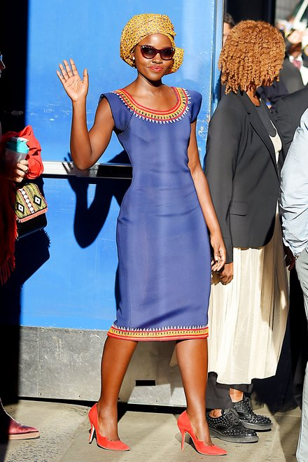 Lupita Nyongo in a dress by Cameroonian designer Kibonen Nfi. Image from Vogue http://www.vogue.com/13483993/lupita-nyongo-kibonen-celebrity-street-style%E2%80%A8/
