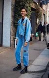 jean straight blue street style