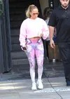 The singer Jennifer Lopez leaving a gym