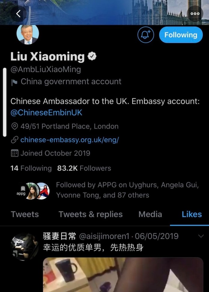 The Chinese ambassador to the UK is a fan of a sexy Twitter post