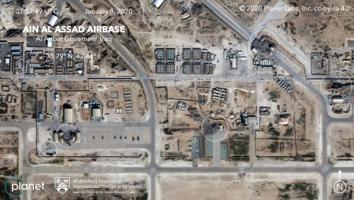 صورة جوية تظهر الأضرار التي شهدتها قاعدة عين الأسد الجوية جراء الهجمات الإيرانية