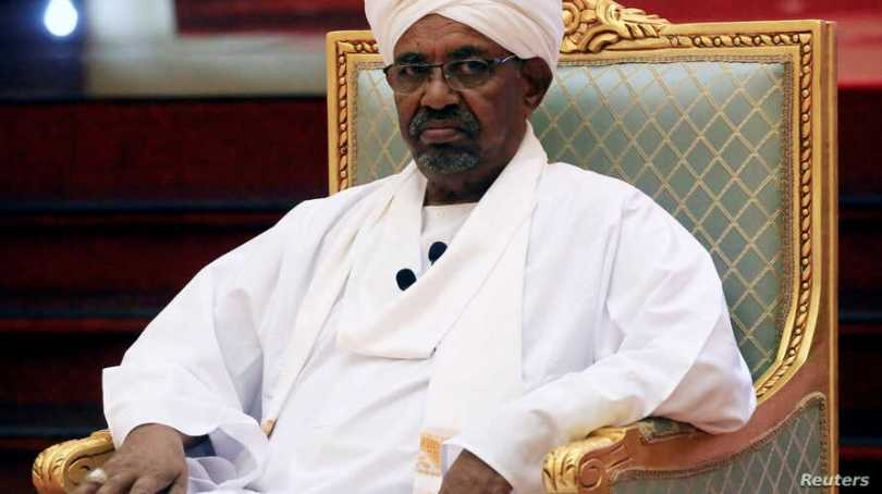 FILE - Sudanese President Omar al-Bashir addresses the National Dialogue Committee meeting at the Presidential Palace in Khartoum, Sudan, April 5, 2019.