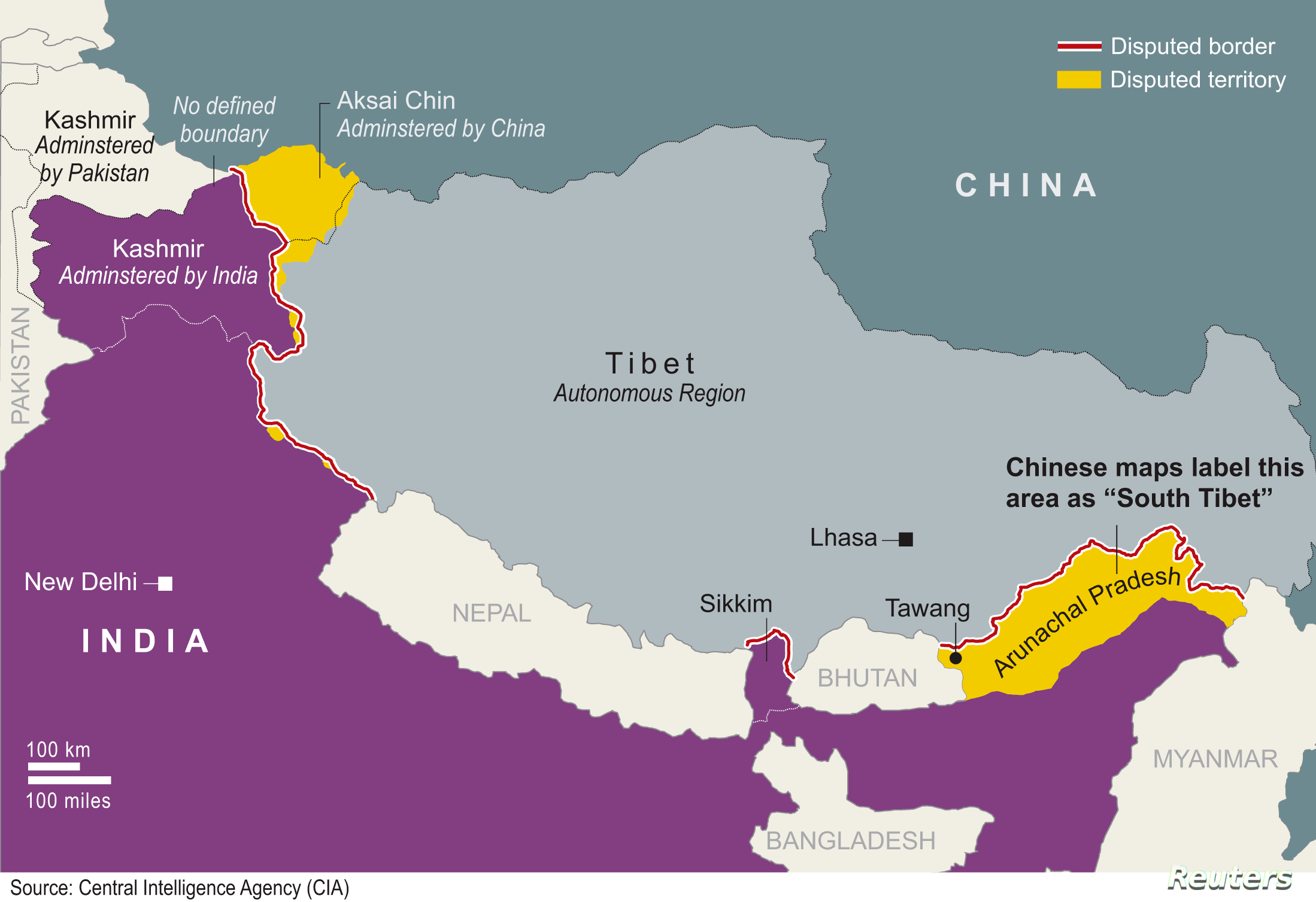 India China Showing Border Map