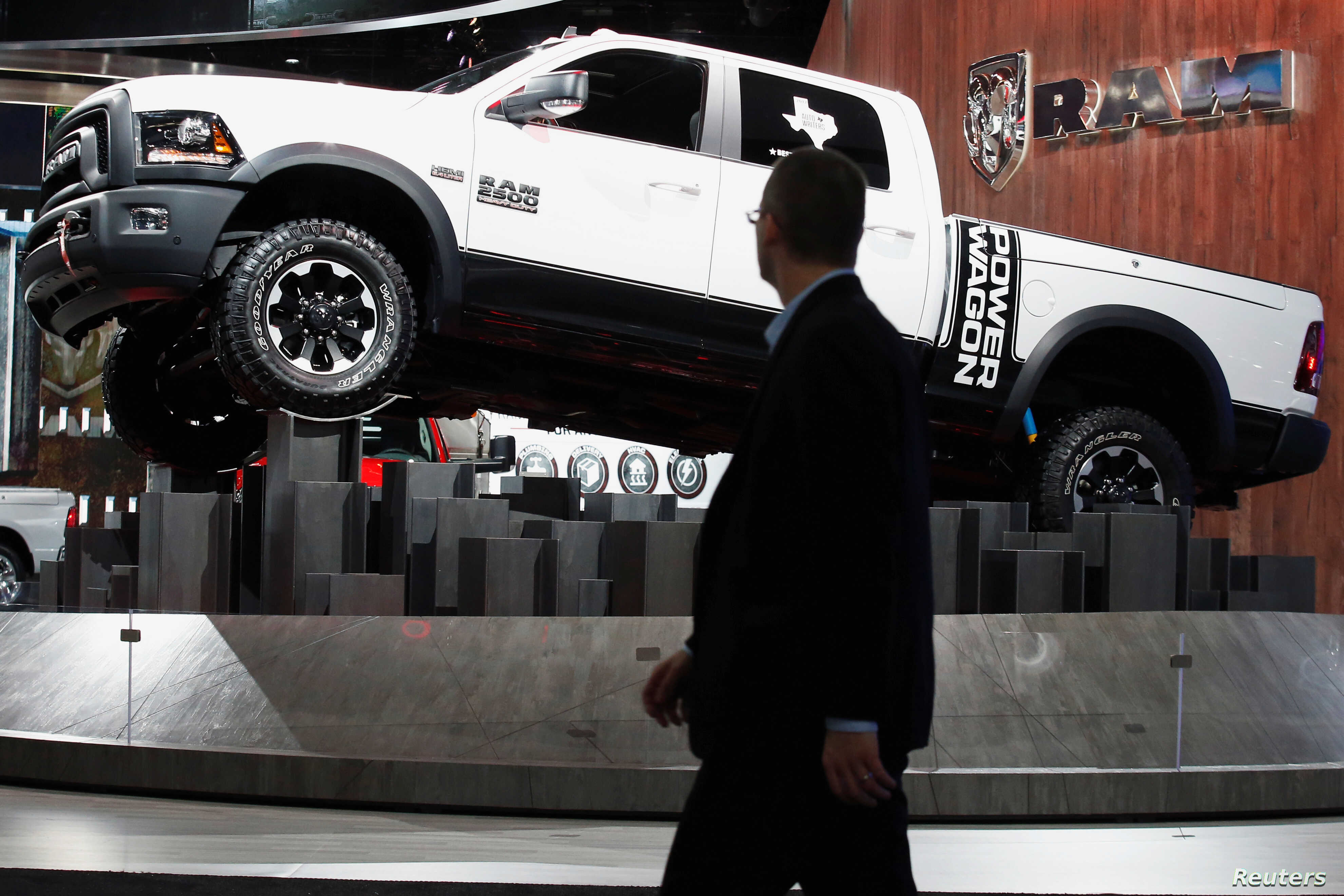 hight resolution of the dodge ram pickup truck is displayed during the north american international auto show in detroit michigan jan 10 2017