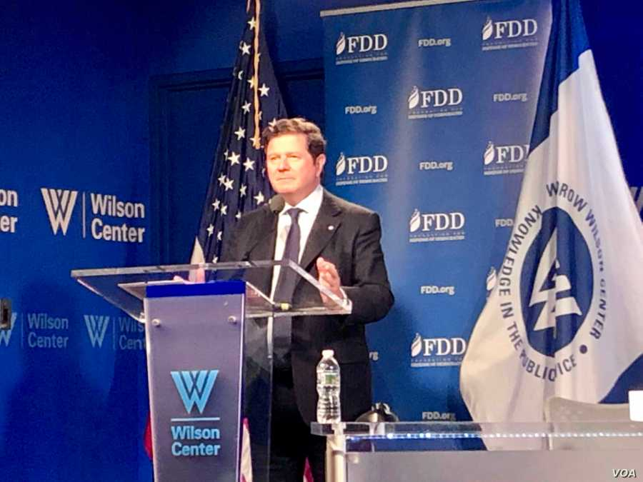 Argentine Ambassador to the U.S. Fernando Oris de Roa addresses Washington's Wilson Center on July 12, 2019. (M. Lipin, VOA Pers
