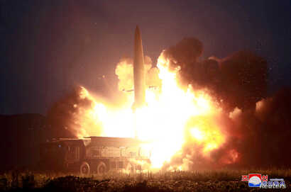 FILE - A missile is launched during testing at an unidentified location in North Korea, in this undated image provided by KCNA, Aug. 7, 2019.