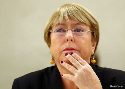 U.N. High Commissioner for Human Rights Michelle Bachelet attends a session of the Human Rights Council at the United Nations in Geneva, Switzerland, Sept. 9, 2019.