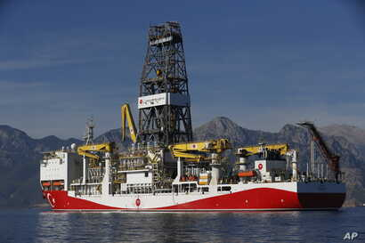 In this photo taken on Oct. 30, 2018, Turkey's oil and gas drillship 'Conquerer' is seen off the coast of Antalya, southern Turkey.